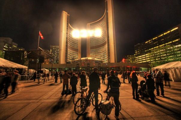 """Sign says """" L I V E """" at Toronto's City Hall"""